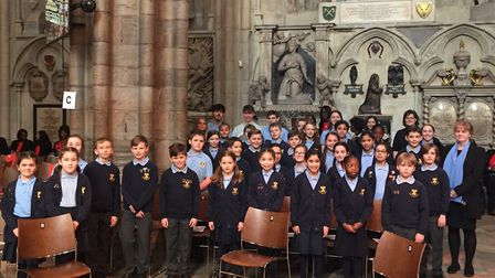 The choir from Abbey Primary School in St Albans rehearsing at Westminster Abbey for Commonwealth Da