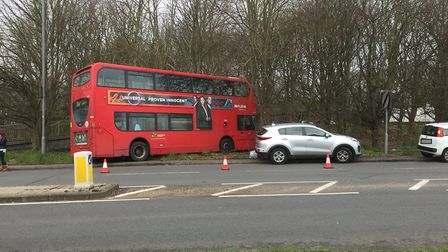 The crash on London Colney High Street on Saturday, March 16.