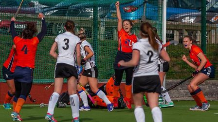 St Albans celebrate as they pick up a vital win over Bedford. Picture: CATH HUMPHRIS