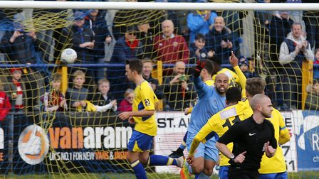 Sam Merson scores from the penalty spot. Picture: LEIGH PAGE
