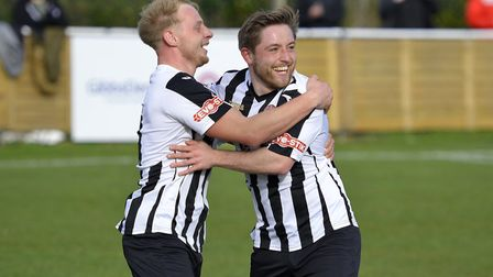 Goalscorer Ben Seymour-Shove (right) celebrates with Ollie Snaith after his opener for St Ives Town
