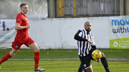 Defender Gav Hoyte conceded the penalty that allowed Barwell to level against St Ives Town. Picture: