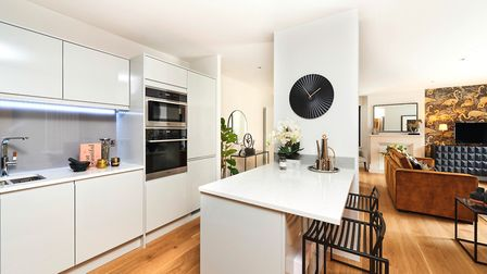 The kitchens at Welcombe Mews feature Carrara Misterio granite worktops and glass splashbacks. Pictu