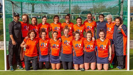 St Albans Hockey Club's ladies celebrate news of the place in the second tier of English hockey.