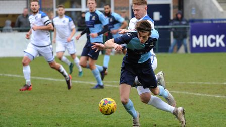 Dan Trendall hit both goals as St Neots Town won at Hitchin. Picture: MARK RIDER