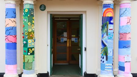 The decorated entrance to Huntingdon Town Hall. Picture: GRAHAM T SHIRRA