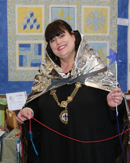 Councillor Sarah Conboy, mayor of Godmanchester, wears her Forgetful Wizard costume which was create