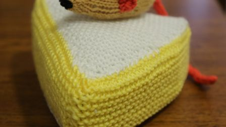A mouse and a wedge of cheese, specially knitted for the festival. Picture: GRAHAM T SHIRRA