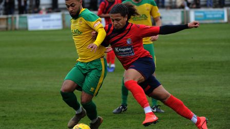 St Neots Town ace Jordan Norville-Williams on the attack in their win at Hitchin Town. Picture: MARK