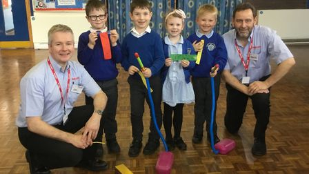 Jim Marlin and Dave Webb met pupils at Winhills School in St Neots