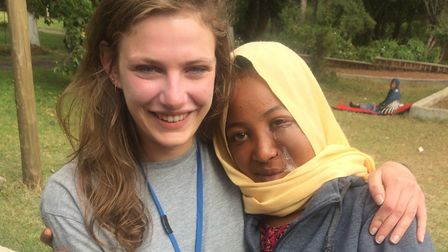 Emily Eldred is running the Virgin Money London Marathon for Project Harar. Emily with one of the pe