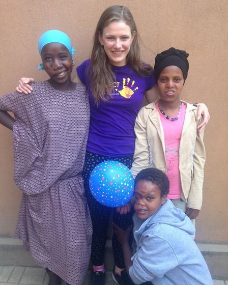Emily Eldred is running the Virgin Money London Marathon for Project Harar. She is with some of the