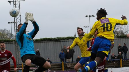David Moyo has three goals in his last two games for St Albans City. Picture: JIM STANDEN