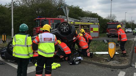 Crews arrived to find one car on its roof and two casualties trapped inside their vehicles on teh A4