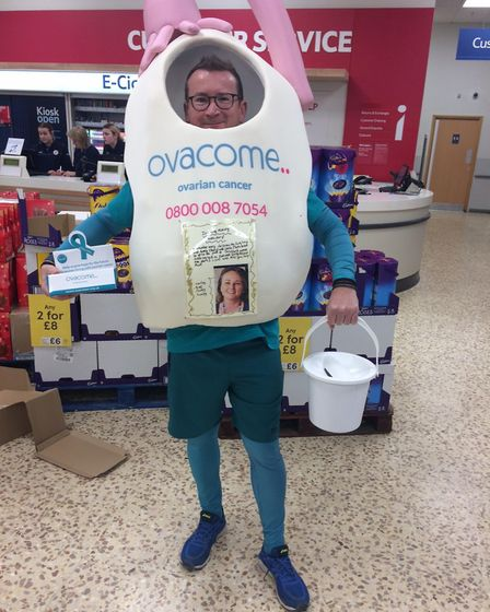 Craig McMurrough, pictured raising money at Royston's Tesco Extra store at the weekend, is running t