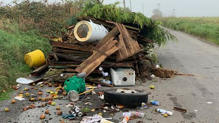 The most recent fly-tipping, blocking Blunts Lane in St Albans. Picture: Paolo Black