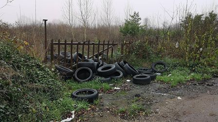 This picture of fly-tipping was taken near the A414 last Tuesday. Picture: Crispin Driver.
