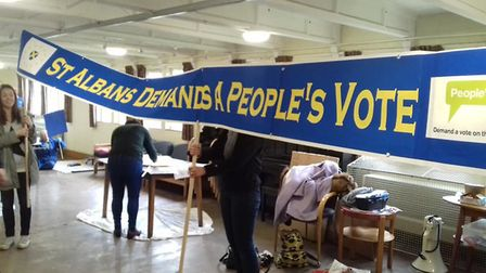 St Albans for Europe making banners from the march on Saturday. PIcture: StAfE