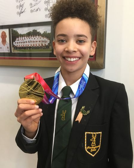 Sol Scott shows off his British Championships gold medal. Picture: HINCHINGBROOKE SCHOOL