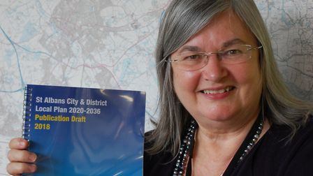 Cllr Maynard with the draft Local Plan. Picture: SADC