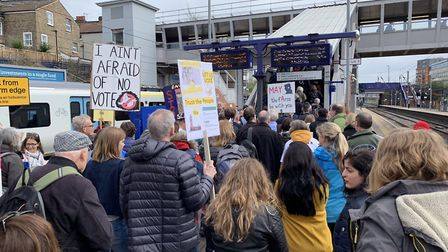 People waiting to board a train and go to the Brexit march. Picture: St Albans for Europe/Harpenden