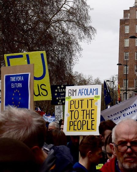 The placards made by St Albans and Harpenden campaigners. Picture: St Albans for Europe/Harpenden fo