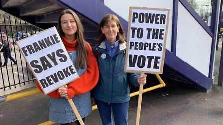 Campaigners at the station, with their placards. Picture: St Albans for Europe/Harpenden for Europe