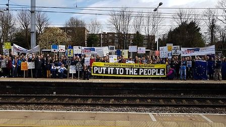 Campaigners at Harpenden station, going to the People's Vote march. Picture: St Albans for Europe/Ha