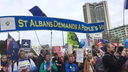 A St Albans for Europe banner on the People's Vote march. Picture: St Albans for Europe/Harpenden fo
