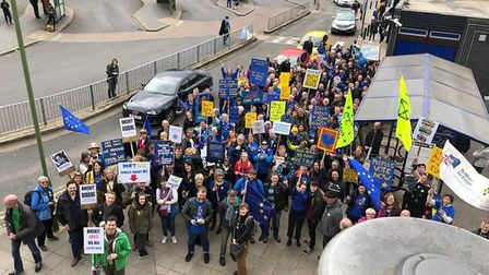 Campaigners at St Albans City Station for the People's Vote march. Picture: St Albans for Europe/Har