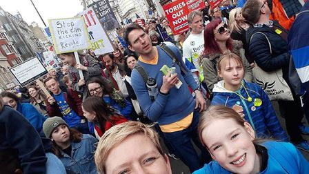 Fran, 12, joined the People's Vote march. Picture: St Albans for Europe/Harpenden for Europe
