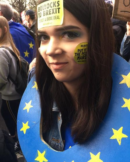 """Gabriella, 15, from St Albans said: """"I marched because I care about my future but I can't vote yet."""