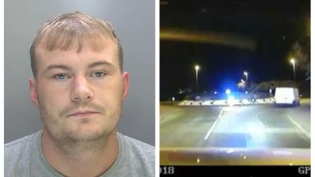 Jason Mahon has been jailed after leading police on a chase through Cambridge, Foxton and Melbourn.