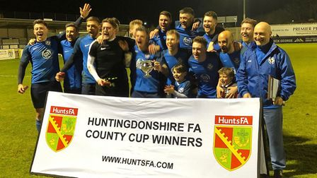 Eynesbury Rovers Reserves celebrate their Hunts Intermediate Cup triumph. Picture: SUBMITTED