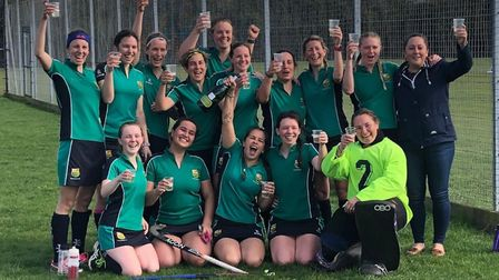 St Ives Ladies 1sts toast their promotion from Division Two North-West of the East Women's League. P