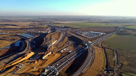 The upgrade A1 and A14 interchange at Brampton. Picture: GEOFF SODEN