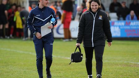St Neots Town manager Marc Abbott with physio Kayleigh-Anne Burt. Picture: MARK RIDER