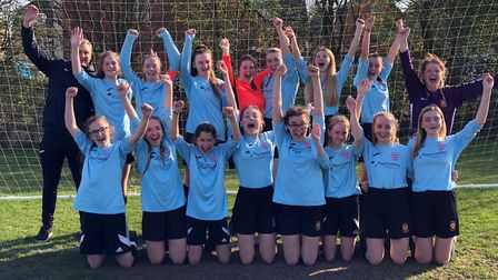 St Ivo School's Under 15 girls team celebrate reaching the final of the English Schools' Football As