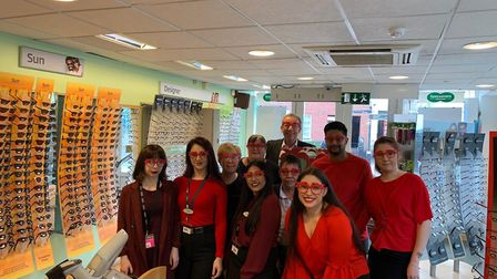 Staff at the St Albans Specsavers with the Comic Relief frames. Picture: Specsavers