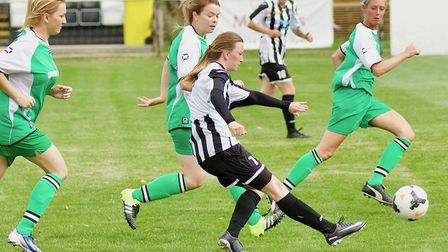 Katie Stancombe hit the bar in St Ives Town Ladies' success at Stevenage Reserves. Picture: LOUISE T