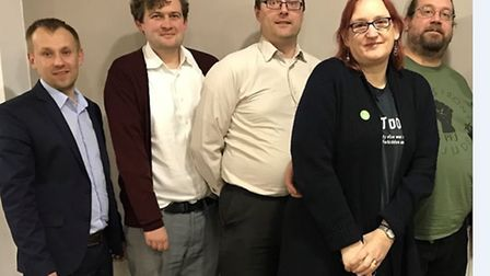 Daniel Laycock (pictured far left) wants to get green issues debated