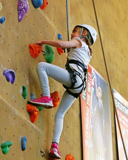 Kids take part in a children's climbing party at Westminster Lodge to raise money for the It's OK To