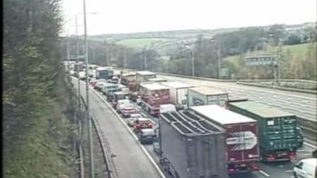 Cameras of the M25 traffic jams tailing back from the scene. Picture: Highways England
