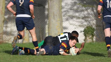 George Gough goes over the line to score in the match between Stevenage Town RFC v Tabard. Picture: