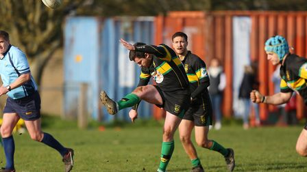 Gareth Lewis restarts in the match between Stevenage Town RFC v Tabard. Picture: DANNY LOO