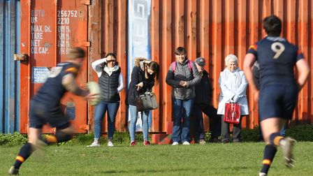 Fans watch the match between Stevenage Town RFC v Tabard. Picture: DANNY LOO
