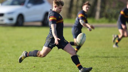 Jack Reilly restarts in the match between Stevenage Town RFC v Tabard. Picture: DANNY LOO