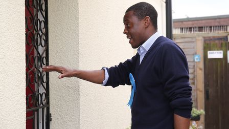 Hitchin and Harpenden conservative candidate Bim Afolami knocks on doors in Westmill. Picture: Danny