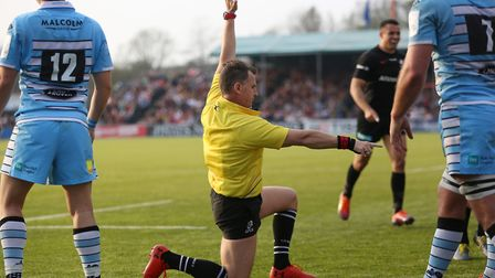 Referee Nigel Owens signals a Saracens try in the Heineken Champions Cup game between Saracens v Gla