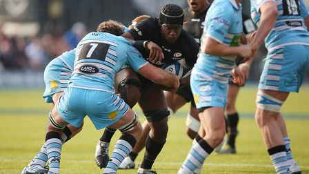 Maro Itoje of Saracens in the Heineken Champions Cup game between Saracens v Glasgow Warriors at the